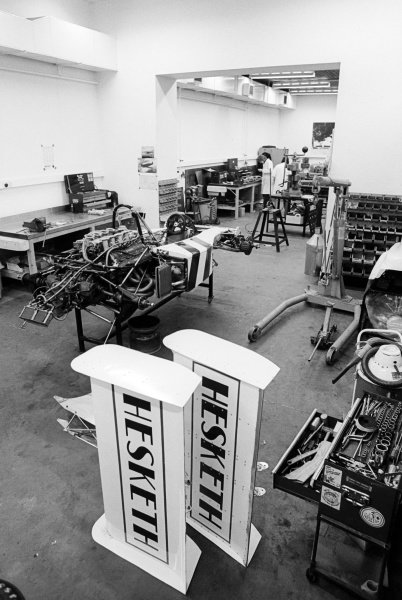 The Hesketh 308 is worked on at the headquarters of Hesketh Racing.