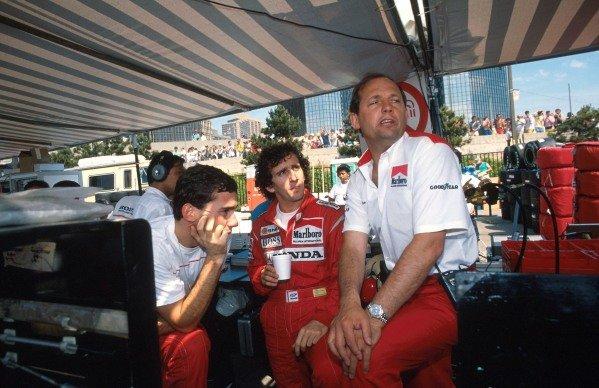L-R Ayrton Senna (BRA) McLaren, Alain Prost (FRA) McLaren and Ron Dennis (GBR) Mclaren Chief Executive. USA Grand Prix, Detroit, 19 June 1988