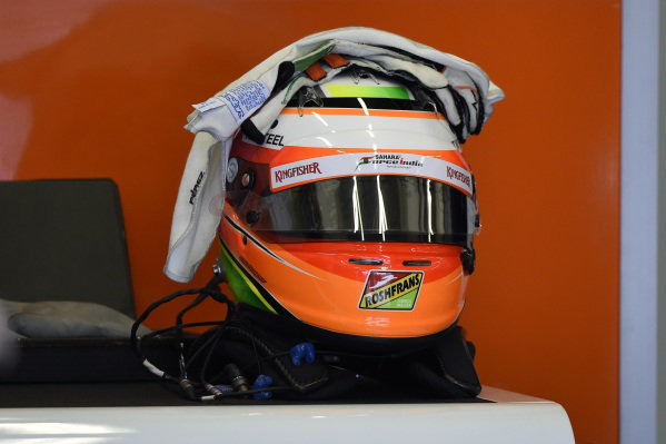 The helmet of Sergio Perez (MEX) Force India F1. Formula One Testing, Jerez, Spain, Day Two, Wednesday 29 January 2014.