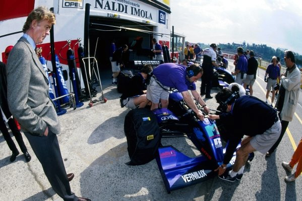 (L to R): Max Mosley (GBR), FIA President and former part-owner of Simtek Research watches the Simtek S941 of David Brabham (AUS) being prepared in the pits. David bravely chose to race following the tragic fatal accident of team mate Roland Ratzenberger (AUT) in qualifying.  San Marino Grand Prix, Rd 3, Imola, Italy, 1 May 1994.
