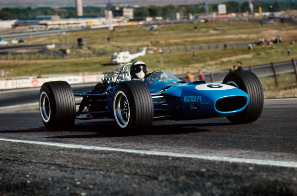 Jarama, Spain. 12 May 1968. Rd 2. Jean-Pierre Beltoise (Matra MS10-Ford), 5th position, action. World Copyright: LAT Photographic. Ref: 68ESP08.