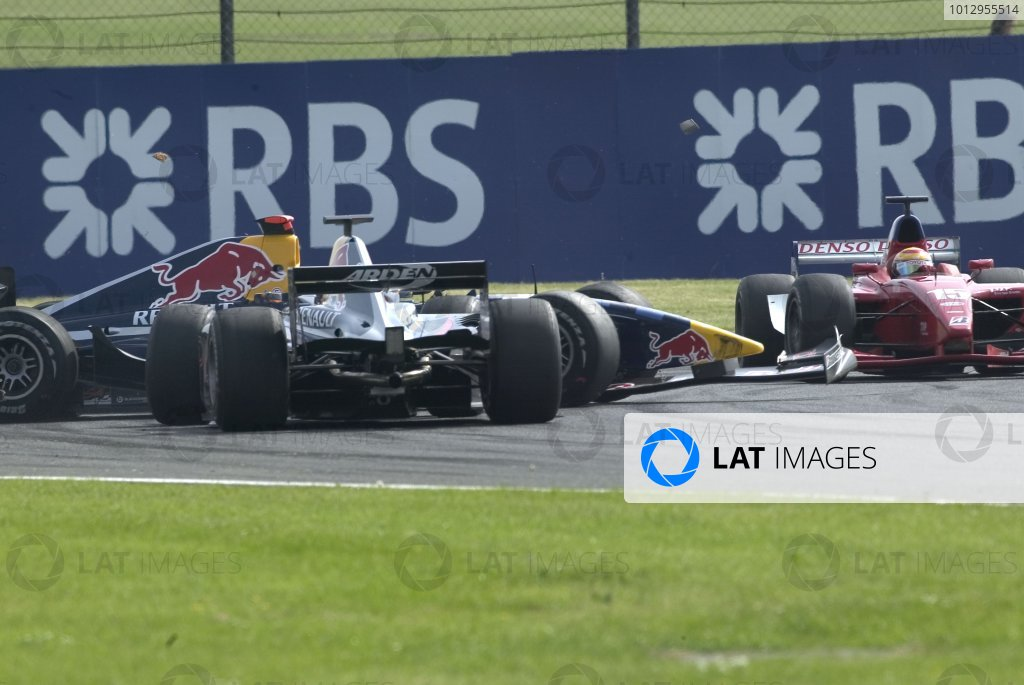 2006 GP2 Series Round 6. Silverstone, England. 11th June 2006. Sunday race. Michael Ammermuller (GER, Arden International) and Neel Jani (SUI, Arden International) crash. Action.  World Copyright: Alastair Staley/GP2 Series Media Service. Ref: Digital Image Only F0AA0217