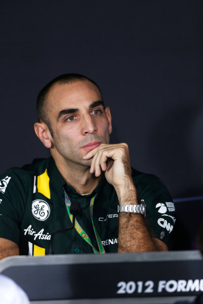 2012 Indian Grand Prix - Friday Buddh International Circuit, New Delhi, India. 26th October 2012. Cyril Abiteboul, CEO, Caterham F1 Team, in the Press Conference.  World Copyright:Andrew Ferraro/LAT Photographic ref: Digital Image _79P8486