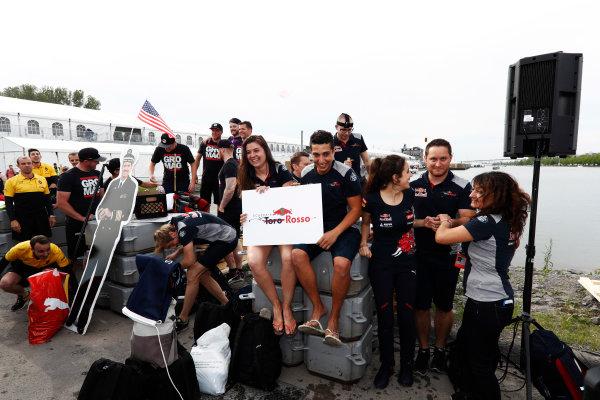 Circuit Gilles Villeneuve, Montreal, Canada. Saturday 10 June 2017. The Haas F1 and Toro Rosso raft race teams. World Copyright: Glenn Dunbar/LAT Images ref: Digital Image _X4I6965