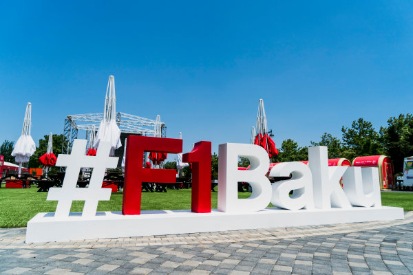 Baku City Circuit, Baku, Azerbaijan. Wednesday 21 June 2017. Promotional hashtag in the fanzine area. World Copyright: Glenn Dunbar/LAT Images ref: Digital Image DSC01311