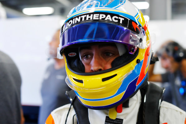 Baku City Circuit, Baku, Azerbaijan. Friday 23 June 2017. Fernando Alonso, McLaren, in helmet, in the team's garage. World Copyright: Steven Tee/LAT Images ref: Digital Image _R3I2071