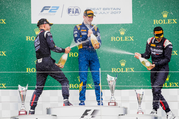 2017 FIA Formula 2 Round 6. Silverstone, Northamptonshire, UK. Sunday 16 July 2017. Luca Ghiotto (ITA, RUSSIAN TIME), Nicholas Latifi (CAN, DAMS), Artem Markelov (RUS, RUSSIAN TIME).  Photo: Zak Mauger/FIA Formula 2. ref: Digital Image _56I0792
