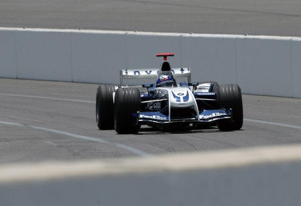 2004 United States Grand Prix - Friday Practice,Indianapolis, USA. 18th June 2004 Juan Pablo Montoya, BMW Williams FW26, action.World Copyright: Steve Etherington/LAT Photographic ref: Digital Image Only