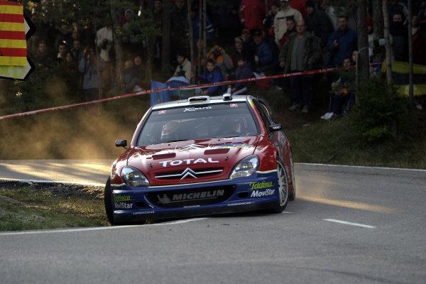 2003 FIA World Rally Champs. Round 13 Catalunya Rally 23rd-26th October 2003.Carlos Sainz, Citroen, action.World Copyright: McKlein/LAT