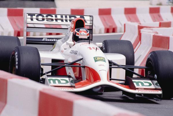 1992 Spanish Grand Prix.Catalunya, Barcelona, Spain. 1-3 May 1992.Aguri Suzuki (Footwork FA13 Mugen-Honda) 7th position.Ref-92 ESP 28.World Copyright - LAT Photographic