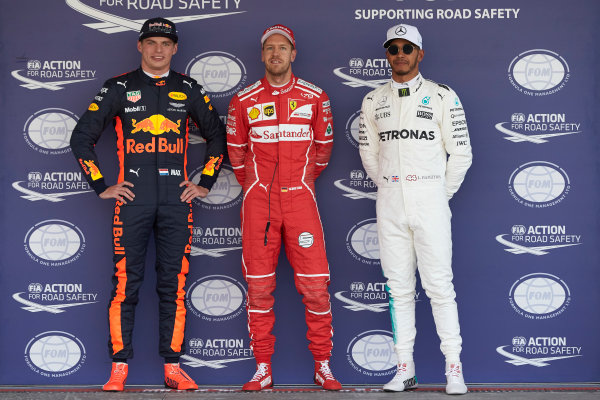 Autodromo Hermanos Rodriguez, Mexico City, Mexico. Saturday 28 October 2017. Top three qualifiers Sebastian Vettel, Ferrari, Max Verstappen, Red Bull, and Lewis Hamilton, Mercedes AMG. World Copyright: Steve Etherington/LAT Images  ref: Digital Image SNE13746