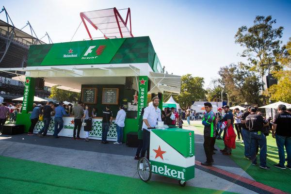 Autodromo Hermanos Rodriguez, Mexico City, Mexico. Friday 27 October 2017. Heineken beer garden. World Copyright: Sam Bloxham/LAT Images  ref: Digital Image _W6I0759