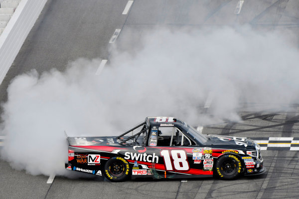 NASCAR Camping World Truck Series  Texas Roadhouse 200 Martinsville Speedway, Martinsville VA USA Saturday 28 October 2017 Noah Gragson, Switch Toyota Tundra celebrates his win World Copyright: Nigel Kinrade LAT Images