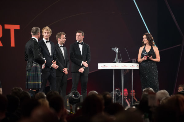 2017 Autosport Awards Grosvenor House Hotel, Park Lane, London. Sunday 3 December 2017. WEC Champions Brendon Hartley, Timo Bernhard and Earl Bamber on stage. World Copyright: Zak Mauger/LAT Images  ref: Digital Image _O3I7320