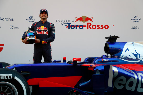 Toro Rosso STR12 Formula 1 Launch. Barcelona, Spain  Sunday 26 February 2017. Carlos Sainz Jr, Toro Rosso.  World Copyright: Dunbar/LAT Images Ref: _X4I9782