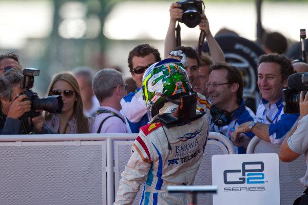 Silverstone, England. 11th July.Sunday Race. Sergio Perez (MEX, Barwa Addax Team) celebrates his victory.Photo: Andrew Ferraro/GP2 Media Service.Ref: __Q0C8243 jpg