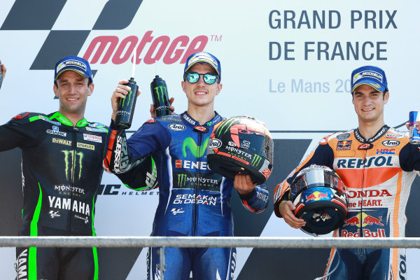 2017 MotoGP Championship - Round 5 Le Mans, France Sunday 21 May 2017 Podium: winner Maverick Viñales, Yamaha Factory Racing, second place Johann Zarco, Monster Yamaha Tech 3, third place Dani Pedrosa, Repsol Honda Team World Copyright: Gold & Goose Photography/LAT Images ref: Digital Image 671713