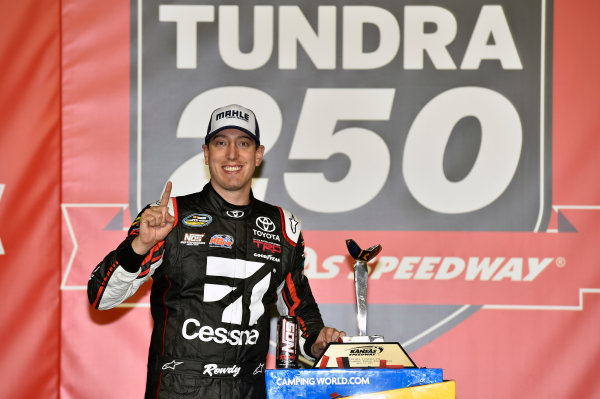 NASCAR Camping World Truck Series Toyota Tundra 250 Kansas Speedway, Kansas City, KS USA Friday 12 May 2017 Kyle Busch, Cessna Toyota Tundra celebrates his win in Victory Lane World Copyright: Nigel Kinrade LAT Images ref: Digital Image 17KAN1nk07229