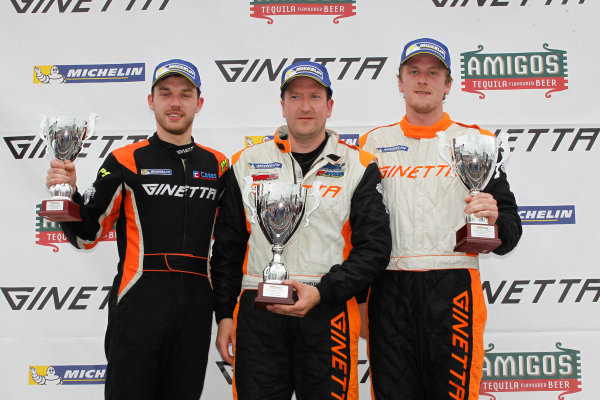 Ginetta GT4 Supercup, Silverstone, 17th-18th September 2016, Podium, Will Burns (GBR) Douglas Motorsport Ginetta G55, Carl Boardley (GBR) Carl Boardley Motorsport Ginetta G55, Tom Wrigley (GBR) Rob Boston Racing Ginetta G55. World Copyright. Ebrey/LAT Photographic