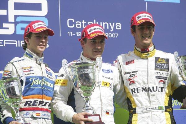 2007 GP2 Series. Round 2. Sunday RaceBarcelona, Spain. 13th May 2007. Timo Glock (GER, iSport International), Javier Villa (ESP, Racing Engineering) and Lucas di Grassi (BRA, ART Grand Prix). World Copyright: Andrew Ferraro/GP2 Series Media Sevice  ref: Digital Image ZP9O7188