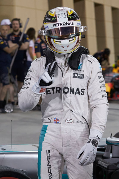 Bahrain International Circuit, Sakhir, Bahrain. Saturday 2 April 2016. Lewis Hamilton, Mercedes AMG, celebrates pole in Parc Ferme. World Copyright: Steve Etherington/LAT Photographic ref: Digital Image SNE25191