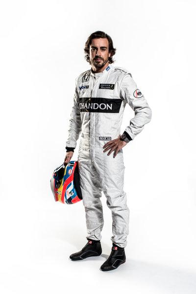 McLaren Honda MP4-31 Reveal. Woking, UK. Thursday 18 February 2016. Fernando Alonso, McLaren. Photo: McLaren (Copyright Free FOR EDITORIAL USE ONLY) ref: Digital Image Fernando Alonso Full Length Portrait 3