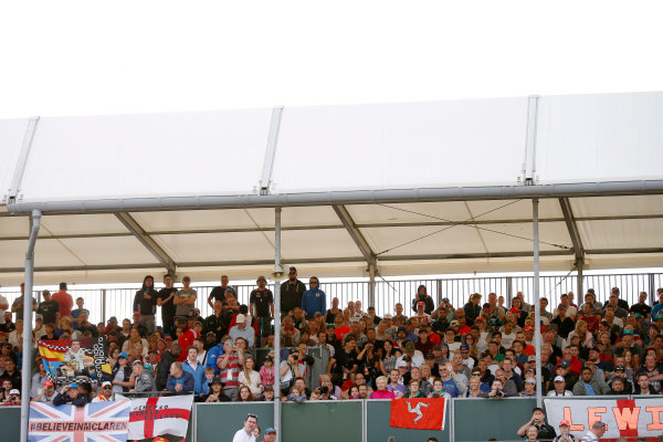 Silverstone Circuit, Northamptonshire, England. Thursday 2 July 2015. Fans in the grandstands. World Copyright: Glenn Dunbar/LAT Photographic ref: Digital Image _89P9889