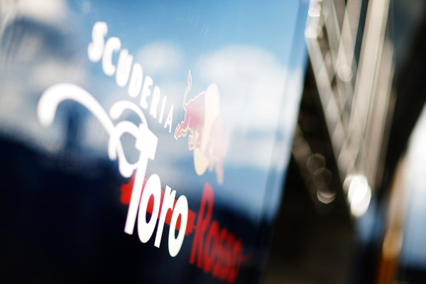 Red Bull Ring, Spielberg, Austria. Friday 19 June 2015. Scuderia Toro Rosso logo on the side of the trucks. World Copyright: Alastair Staley/LAT Photographic. ref: Digital Image _R6T0900