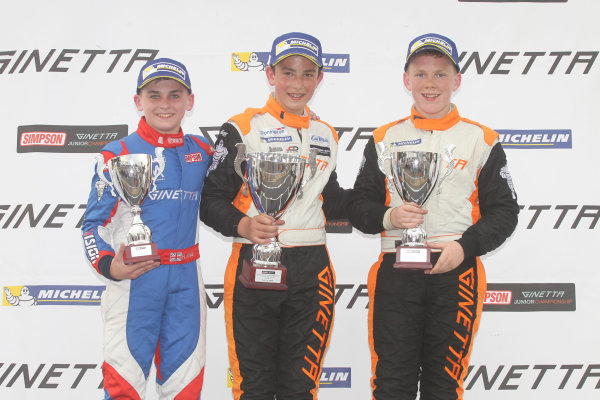 Ginetta Junior Championship, Oulton Park, 4-5 June 2016. Podium, Harry King (GBR) Elite Motorsport Ginetta Junior, Tom Wood (GBR) Elite Motorsport Ginetta Junior, Jordan Collard (GBR) TCR Ginetta Junior. World copyright. Ebrey/LAT Photographic