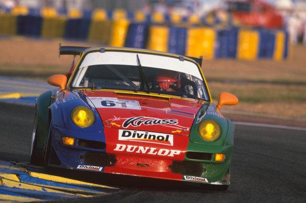 Le Mans, France. 6th - 7th June 1998.Bernhard MŸller/Michael Trunk/Ernst Palmberger (Porsche 911 GT2), retired, action. World Copyright: LAT Photographic.Ref: 98LM09.