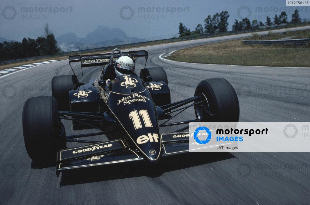 1984 Brazilian Grand Prix.Jacarepagua, Rio de Janeiro, Brazil.23-25 March 1984.Elio de Angelis (Lotus 95T Renault) 3rd position.Ref-84 BRA 21.A Race Through Time exhibition number 20.World Copyright - LAT Photographic