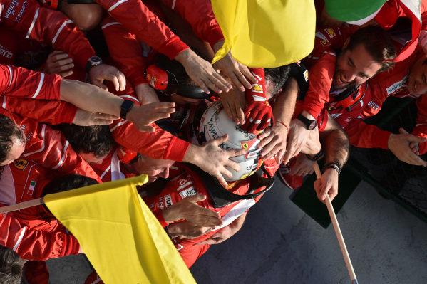 Race winner Sebastian Vettel (GER) Ferrari celebrates in parc ferme at Formula One World Championship, Rd1, Australian Grand Prix, Race, Albert Park, Melbourne, Australia, Sunday 26 March 2017. BEST IMAGE
