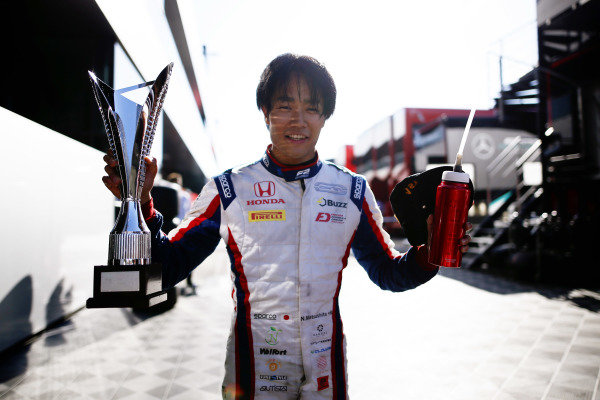 Nobuharu Matsushita (JPN, CARLIN), celebrates with his trophy after winning the race