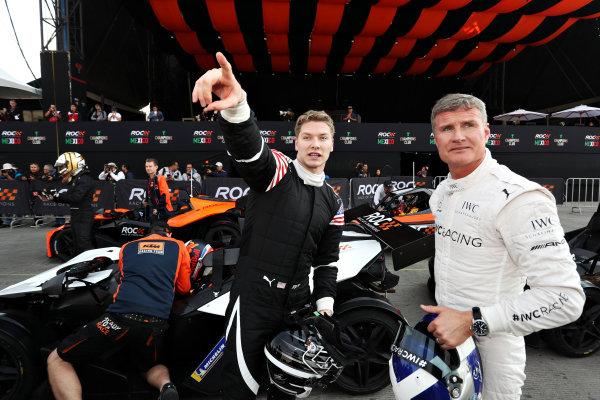 Josef Newgarden (USA) and David Coulthard (GBR) talk