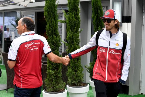 Frederic Vasseur, Team Principal, Alfa Romeo Racing and Antonio Giovinazzi, Alfa Romeo