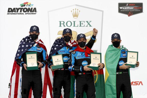 #10 Konica Minolta Acura ARX-05 Acura DPi, DPi: Helio Castroneves, Alexander Rossi, Filipe Albuquerque, Ricky Taylor winner, victory lane