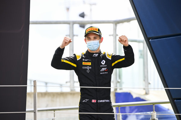 Christian Lundgaard (DNK, ART GRAND PRIX) celebrates ont the podium