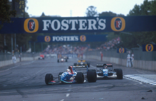 1992 Australian Grand Prix.Adelaide, Australia.6-8 November 1992.Stefano Modena (Jordan 192 Yamaha) followed by Thierry Boutsen (Ligier JS37 Renault). They finished in 6th and 5th positions respectively. This was Modena's last Grand Prix.Ref-92 AUS 18.World Copyright - LAT Photographic