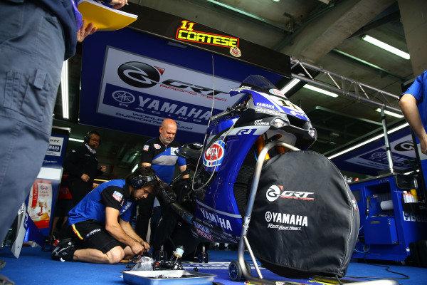 Sandro Cortese, GRT Yamaha WorldSBK bike after crash.