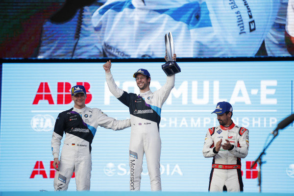 Maximilian Günther (DEU), BMW I Andretti Motorsports, Alexander Sims (GBR) BMW I Andretti Motorsports, and Lucas Di Grassi (BRA), Audi Sport ABT Schaeffler, on the podium