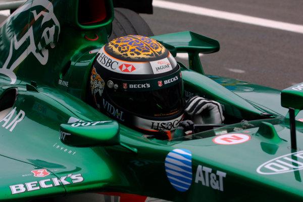 2002 German Grand Prix - Friday PracticeHockenheim, Germany. 26th July 2002.Eddie Irvine (Jaguar).World Copyright - LAT Photographicref: digital file