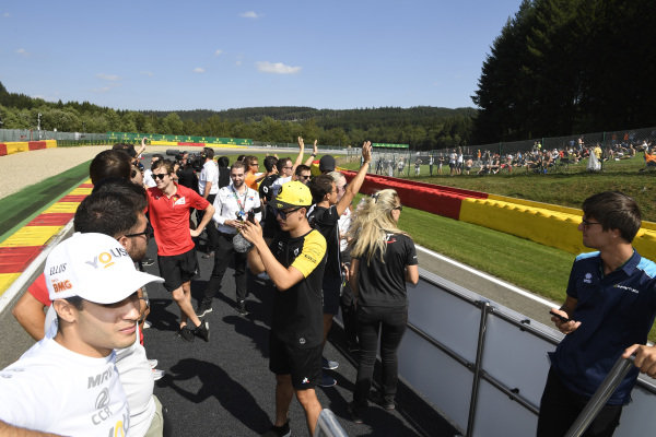 SPA-FRANCORCHAMPS, BELGIUM - AUGUST 31: FIA Formula 2 drivers parade during the Spa-Francorchamps at Spa-Francorchamps on August 31, 2019 in Spa-Francorchamps, Belgium. (Photo by Gareth Harford / LAT Images / FIA F2 Championship)