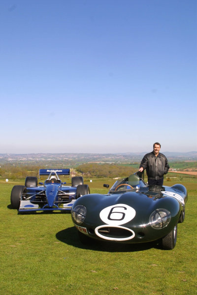 2001 Rockingham Mansell PreviewNigel Mansell stands by the Jaguar D Type of Mike Hawthorn from 1955, alongside the ChampCar which will race at Rockingham this year.Woodbury Country Park, Woodbury, Exeter. 8th May 2001.World Copyright - Rockinghamref: 8 9 MB Digital Image