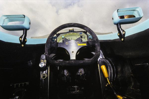 Inside the cockpit of the Leyton House CG911 Ilmor.