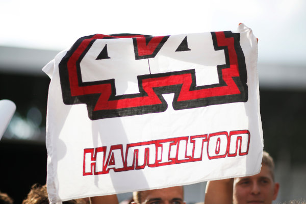 Autodromo Nazionale di Monza, Monza, Italy. Thursday 3 September 2015. Fan support for Lewis Hamilton, Mercedes AMG. World Copyright: Alastair Staley/LAT Photographic ref: Digital Image _R6T7708