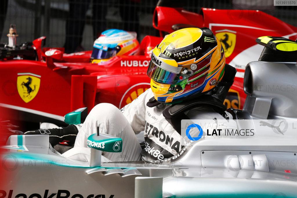 Shanghai International Circuit, Shanghai, China Saturday 13th April 2013 Lewis Hamilton, Mercedes AMG, and Fernando Alonso, Ferrari, arrive on Parc Ferme. World Copyright: Charles Coates/LAT Photographic ref: Digital Image _N7T4367