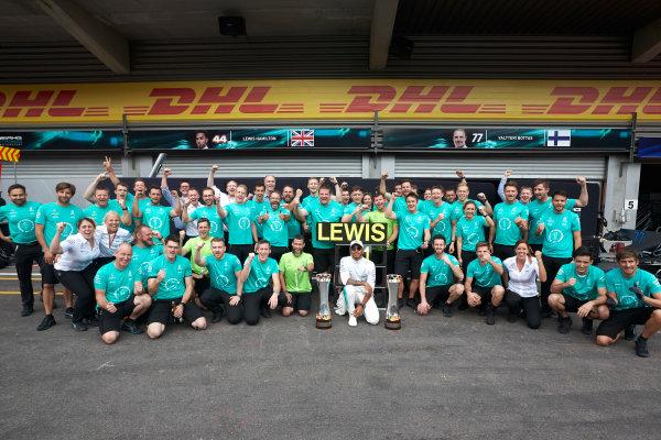 Spa Francorchamps, Belgium.  Sunday 27 August 2017. Lewis Hamilton, Mercedes AMG, 1st Position, celebrates with his team. World Copyright: Steve Etherington/LAT Images  ref: Digital Image SNE10895