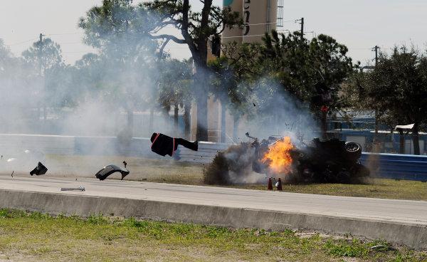 17-20 March 2010, Sebring, Florida, USA #37 Intersport Racing Lola B06/10-AER on fire and flipping during crash. ©Dan R. Boyd, USA LAT Photographic