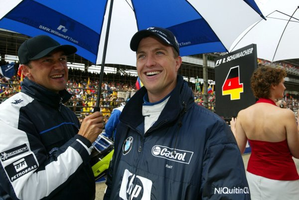 Ralf Schumacher (GER) Williams BMW FW25 on the grid.Formula One World Championship, Rd15, United States Grand Prix, Race Day, Indianapolis, USA, 28 September 2003.DIGITAL IMAGE
