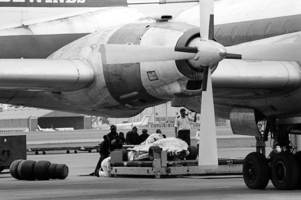 A Wolf WR1 is loaded to the freight of the Bristol Britannia airplane at the airport for return back to England.